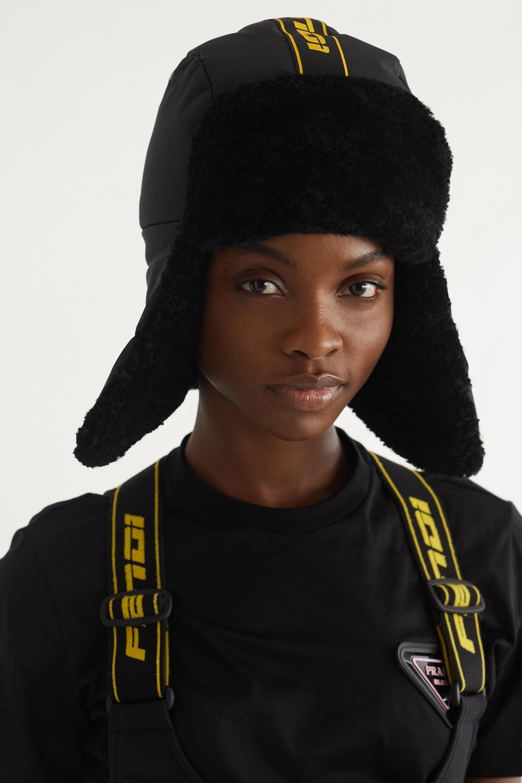 Fendi Shearling-trimmed shell hat
