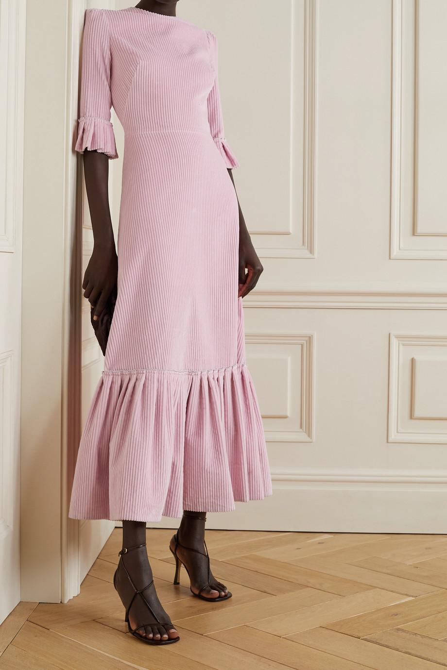 The Vampire's Wife Festival ruffled cotton-corduroy midi dress