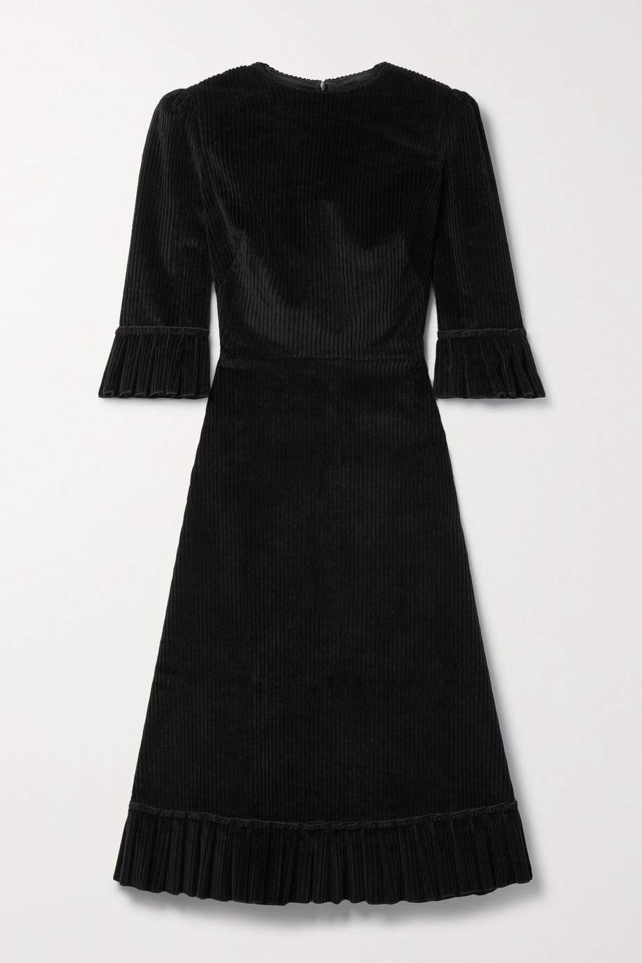 The Vampire's Wife Robe midi en velours de coton côtelé à volants Festival