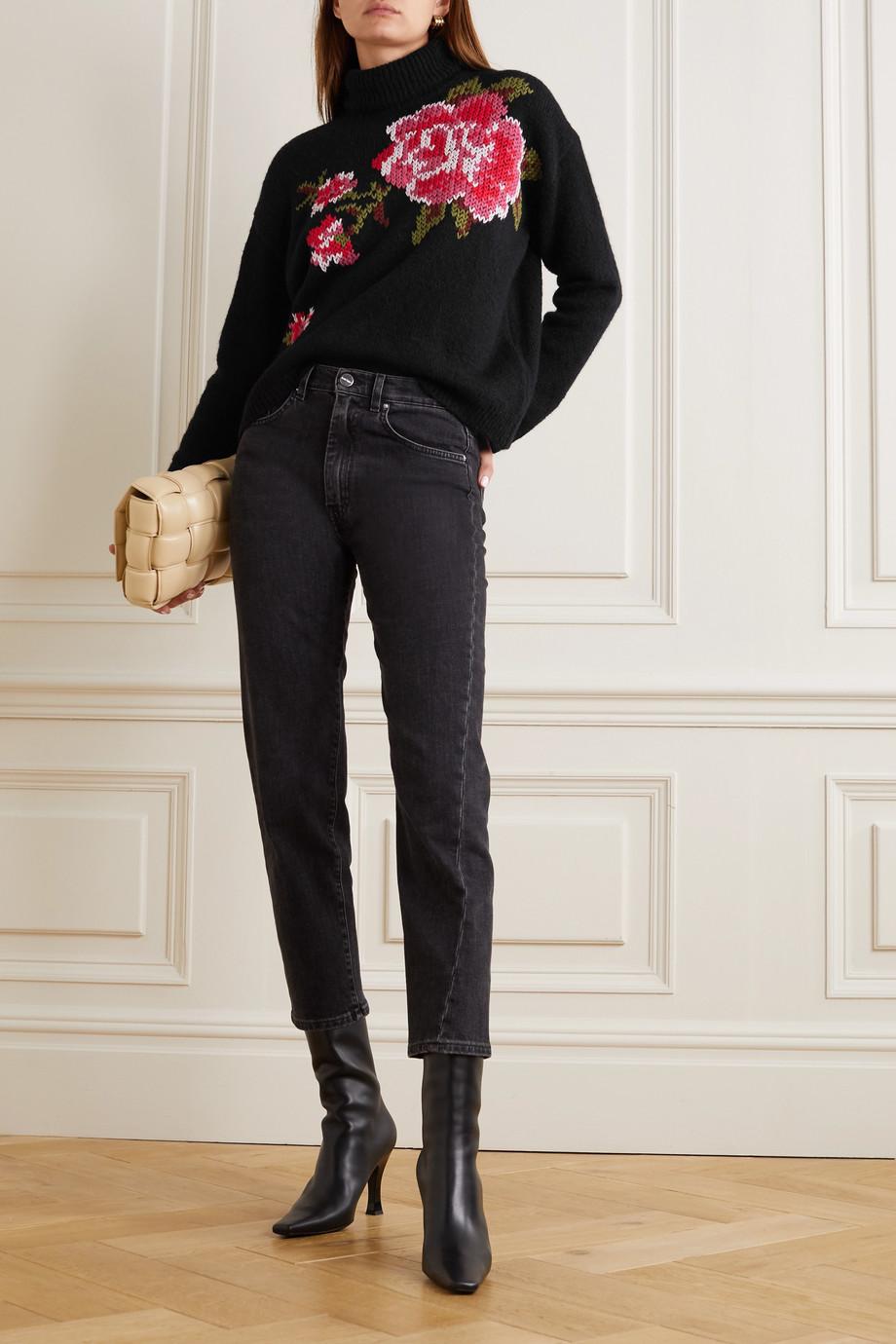 REDValentino Embroidered knitted turtleneck sweater