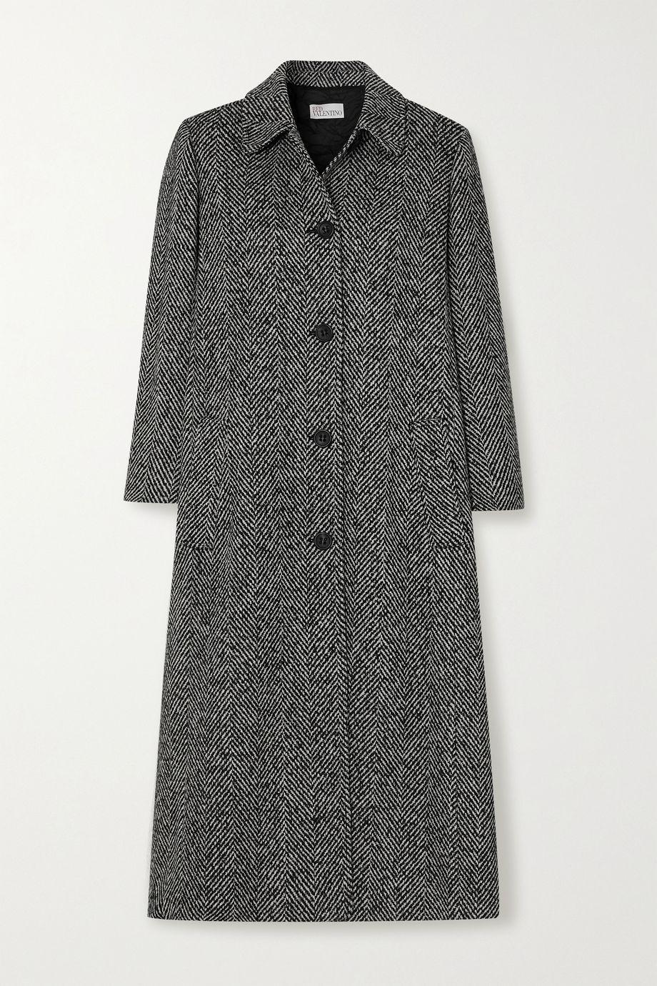 REDValentino Manteau en tweed à chevrons et à plis