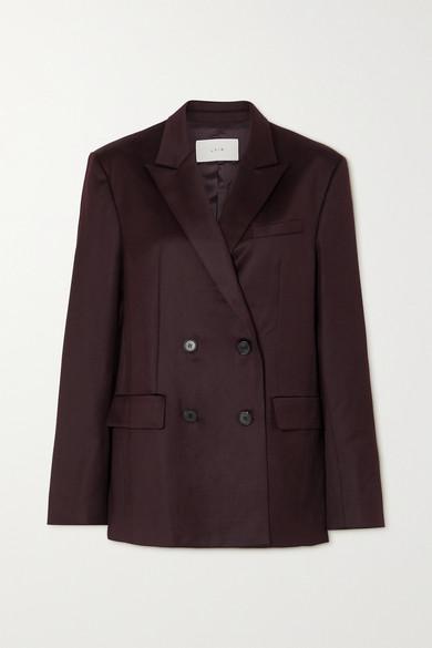 LVIR - 大廓形双排扣羊毛西装外套 - 酒红色 - FR38