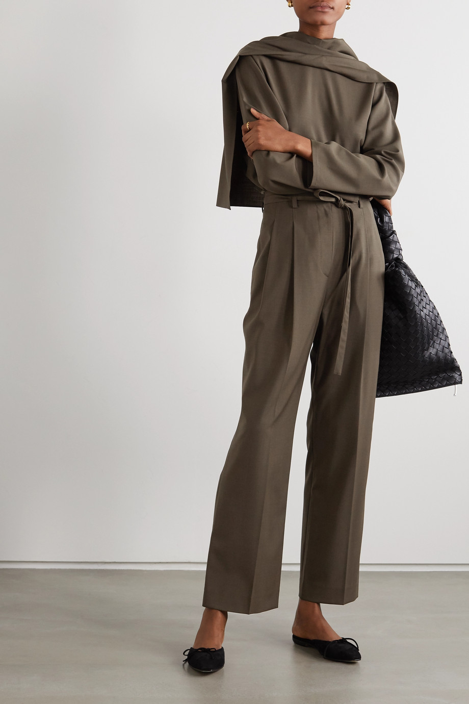 LE 17 SEPTEMBRE Belted cady straight-leg pants
