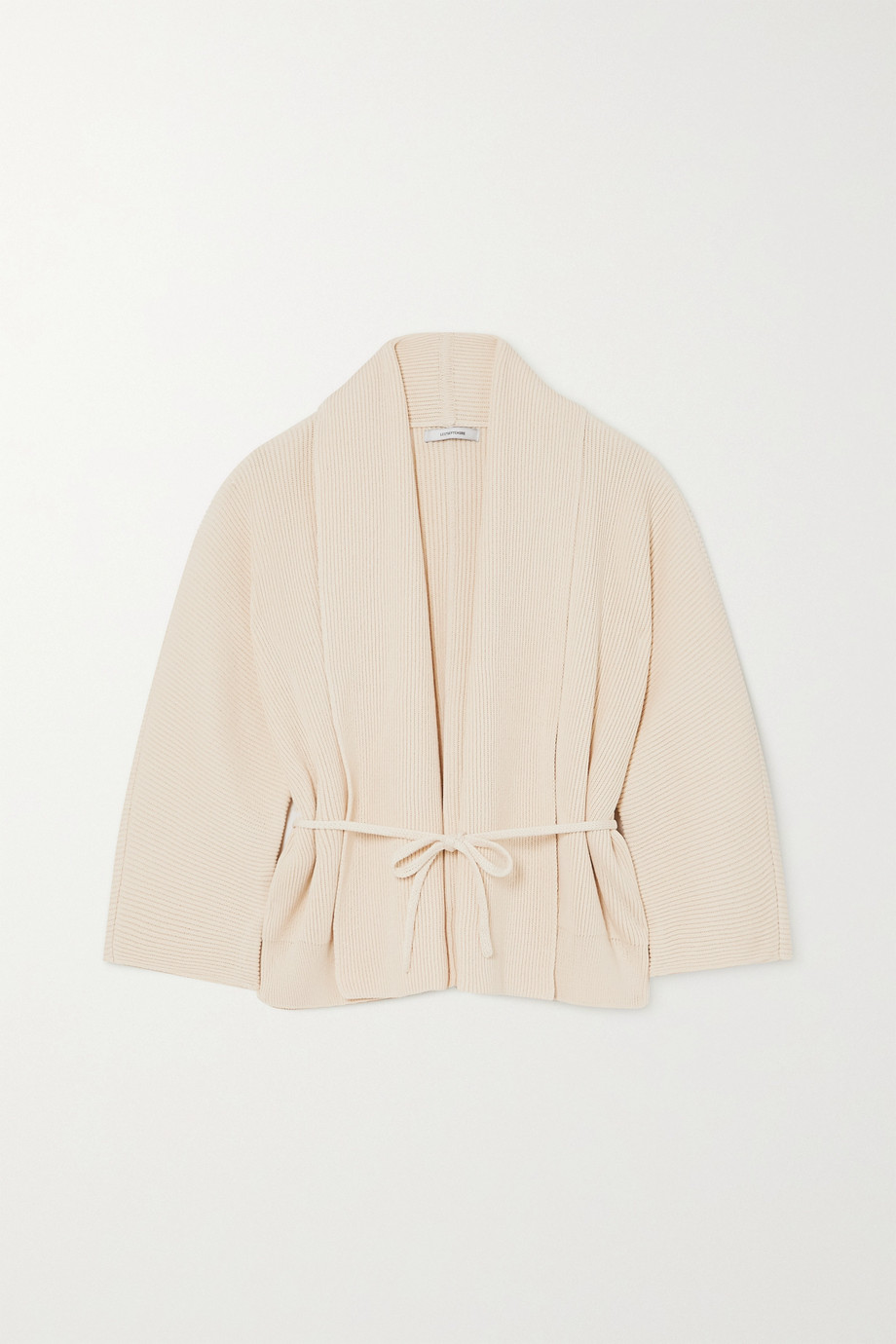 LE 17 SEPTEMBRE Belted ribbed cotton cardigan