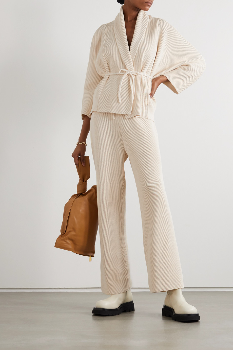 LE 17 SEPTEMBRE Ribbed cotton straight-leg pants