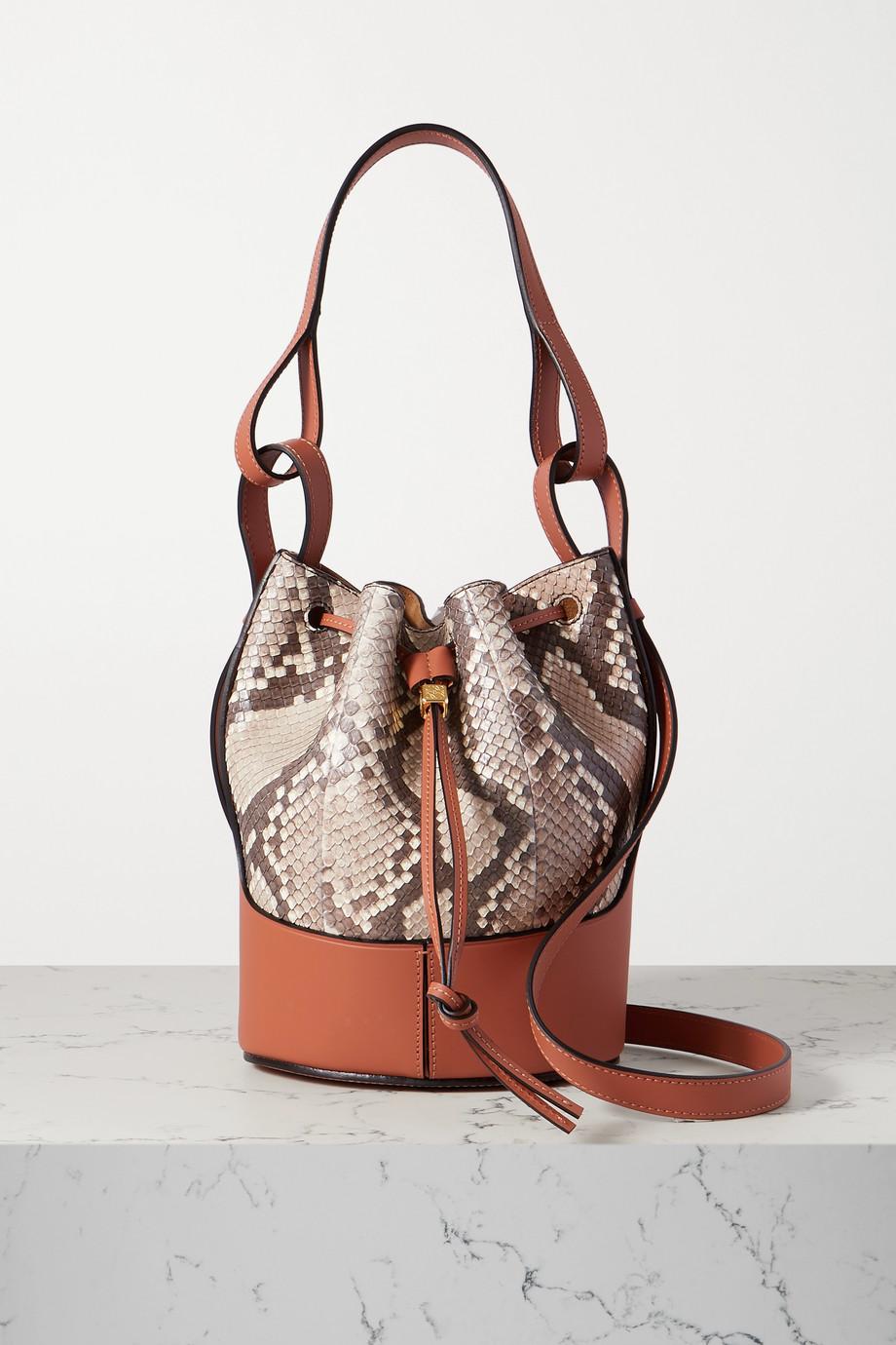 Loewe Balloon small python and leather bucket bag