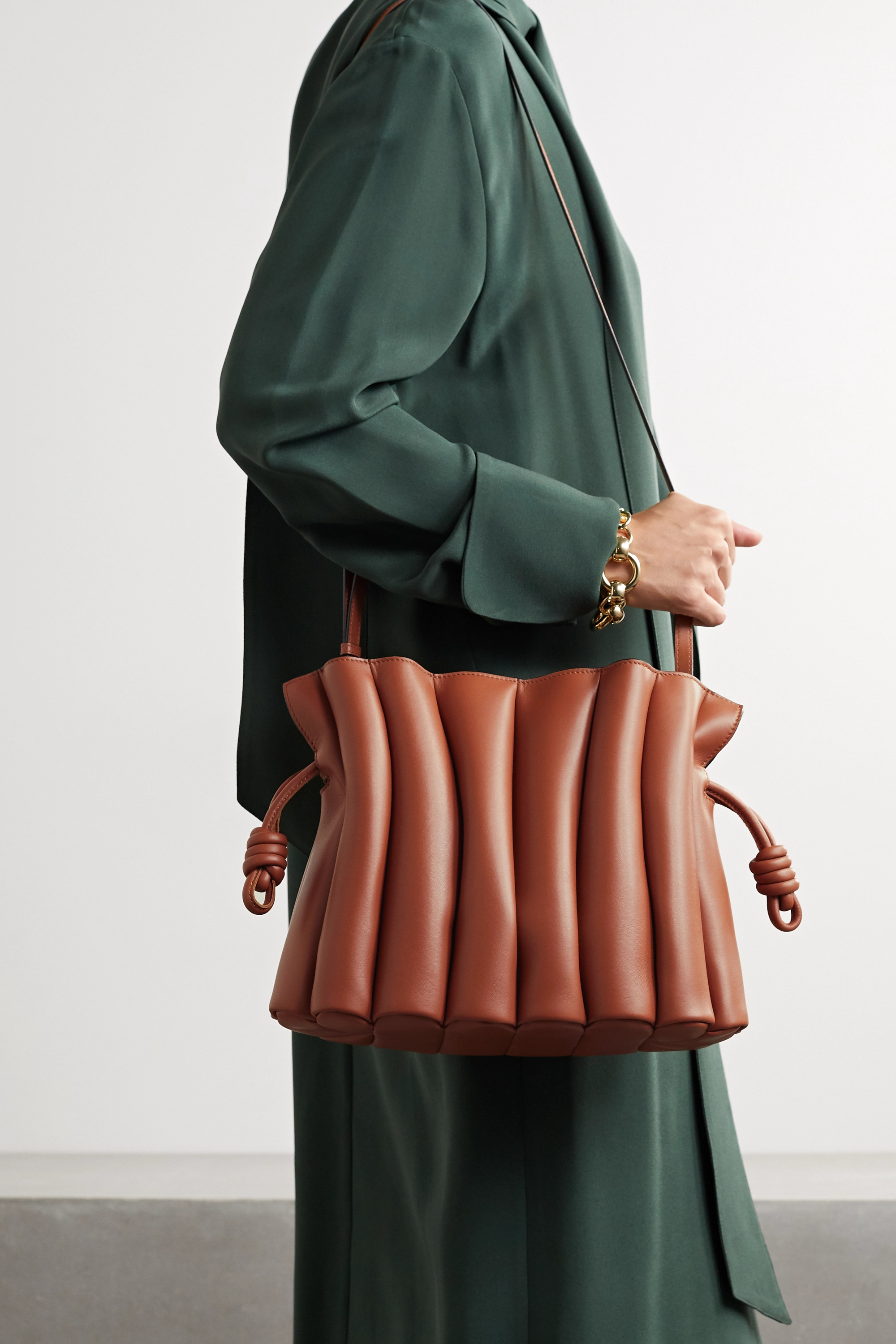 Loewe Flamenco Ondas pleated leather clutch