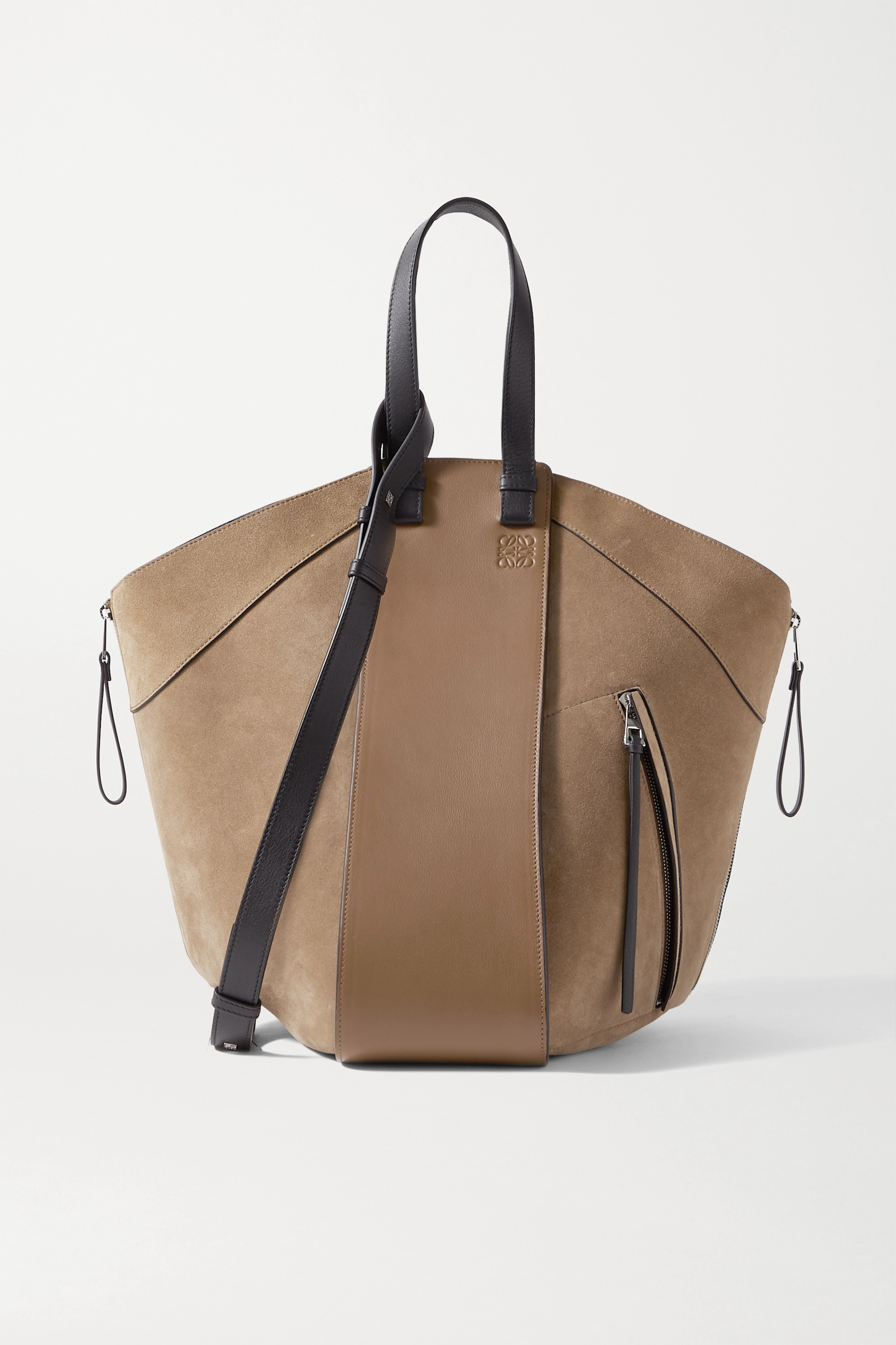 Loewe Hammock large paneled leather and suede tote