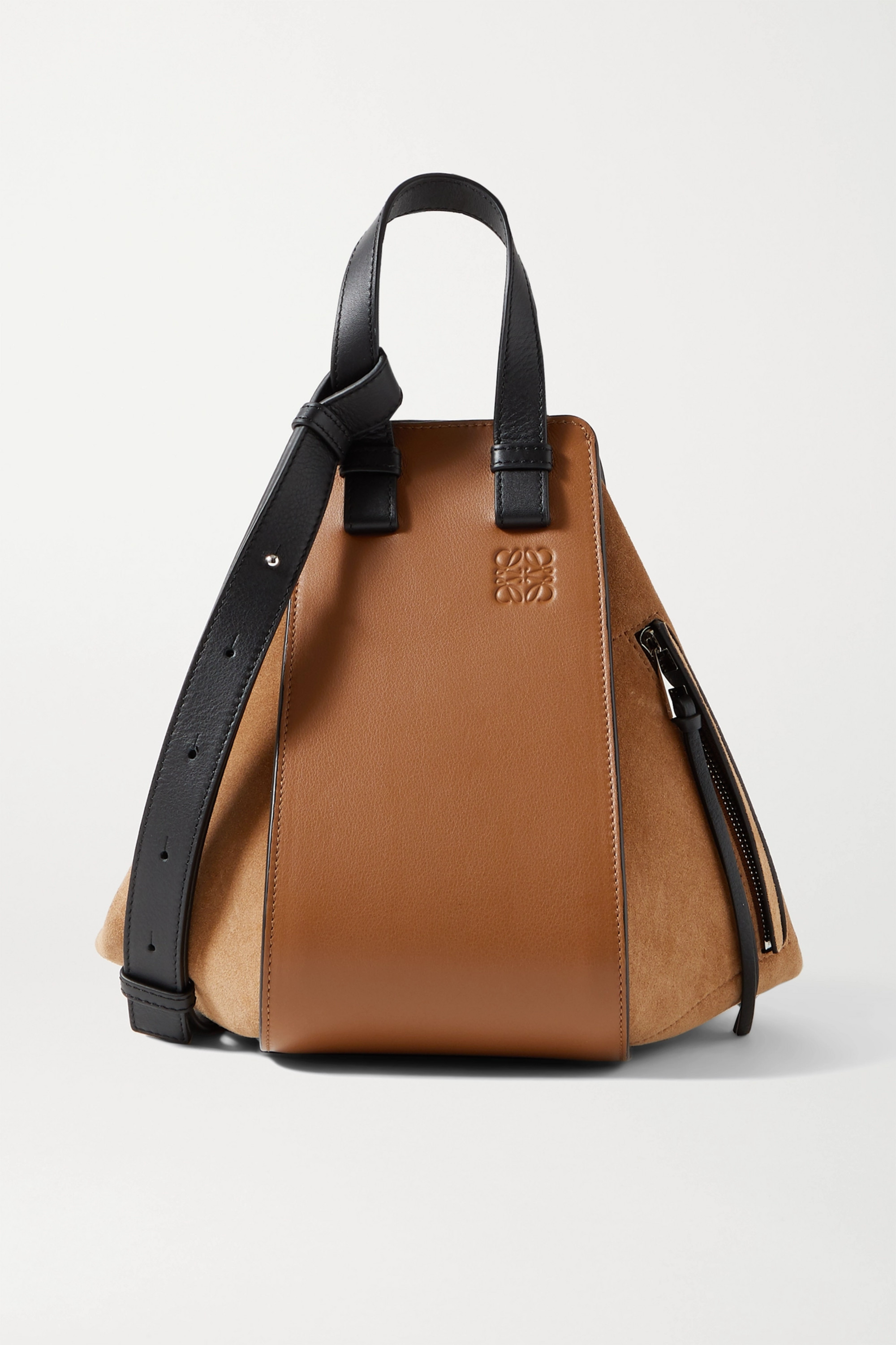 Loewe Hammock small paneled leather and suede tote