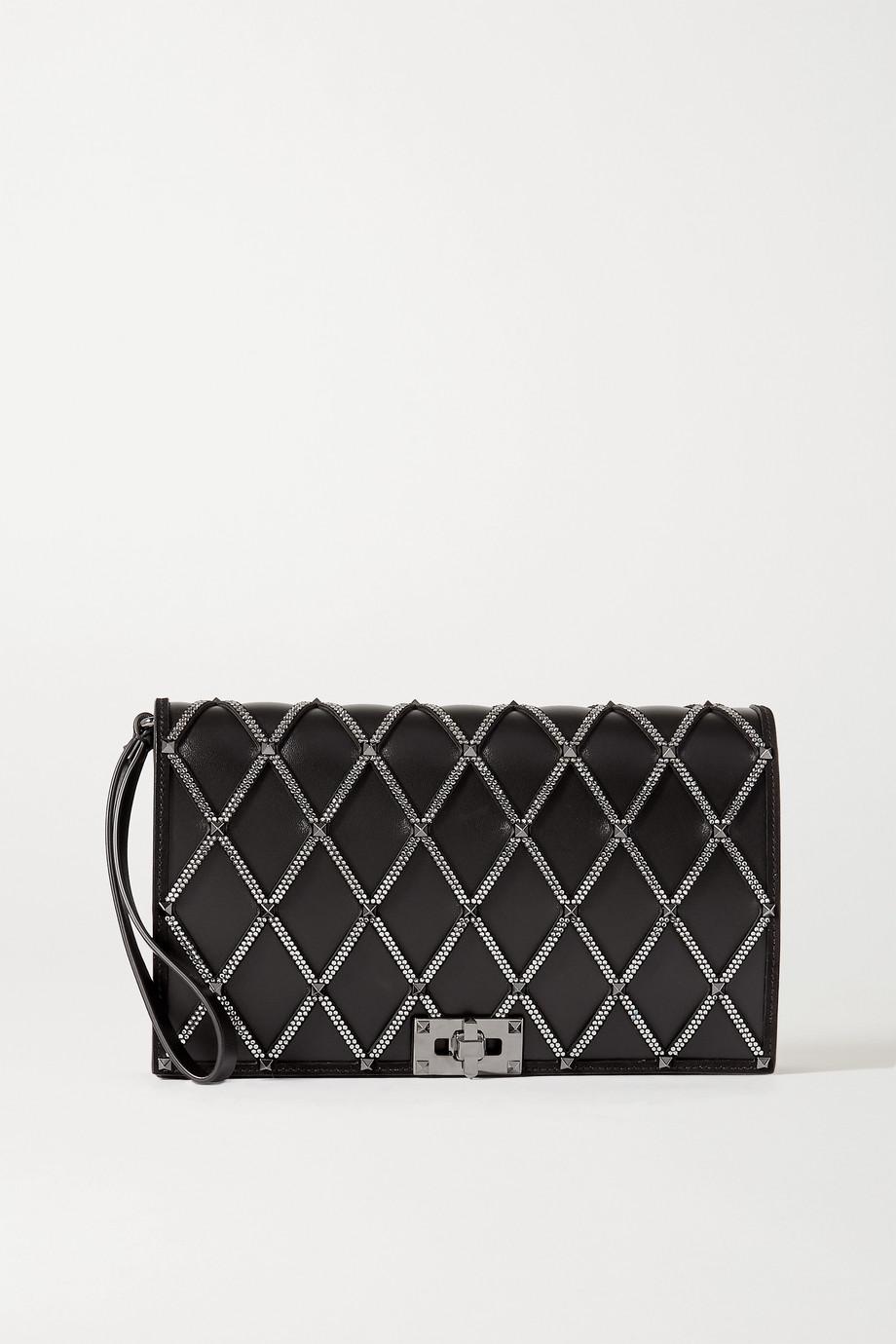 Valentino Valentino Garavani Beehive embellished leather clutch