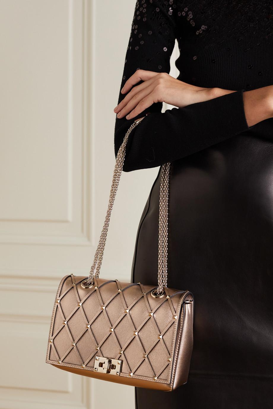 Valentino Valentino Garavani Beehive studded metallic leather shoulder bag