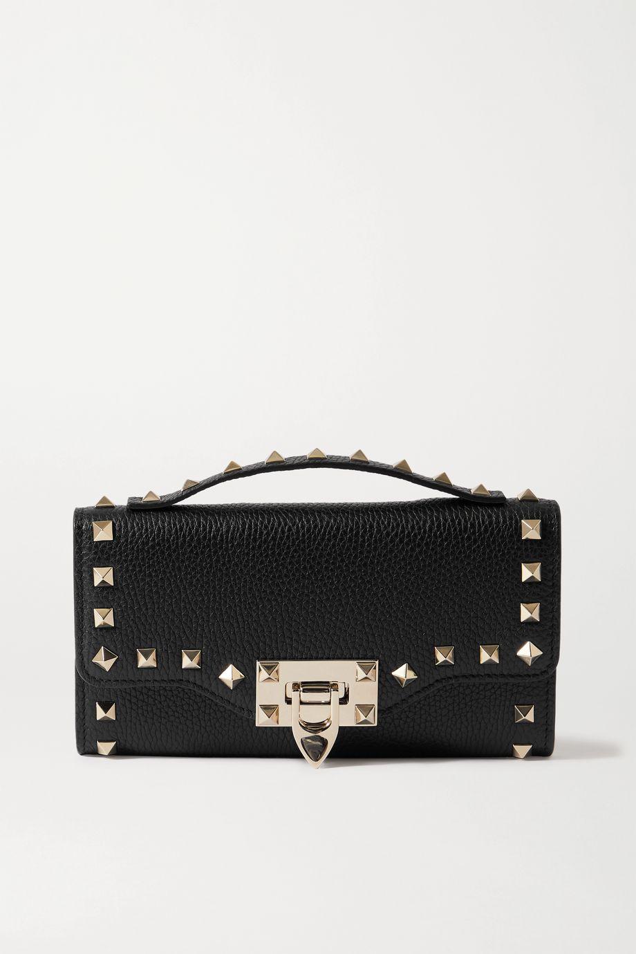 Valentino Valentino Garavani Rockstud textured-leather clutch