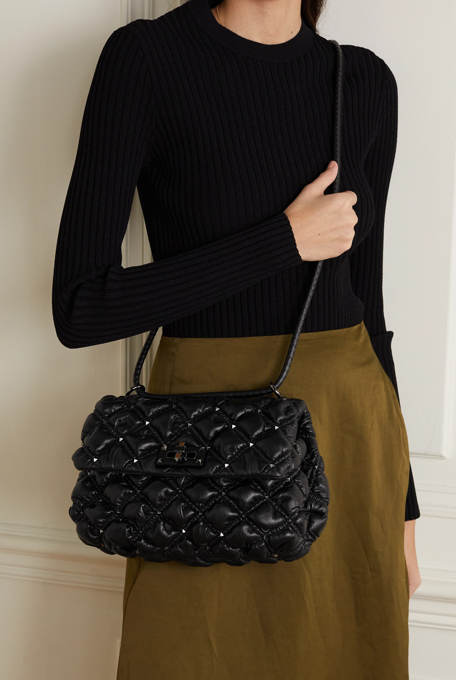 Valentino Valentino Garavani Waffle medium studded quilted leather shoulder bag