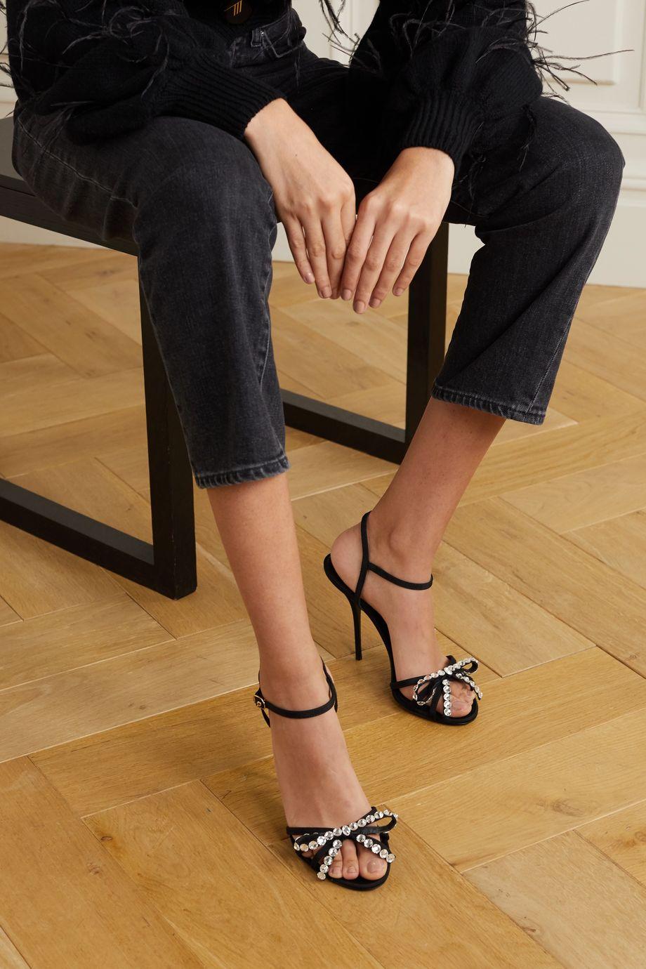 Dolce & Gabbana Sandalen aus Ripsband mit Kristallen und Schleife