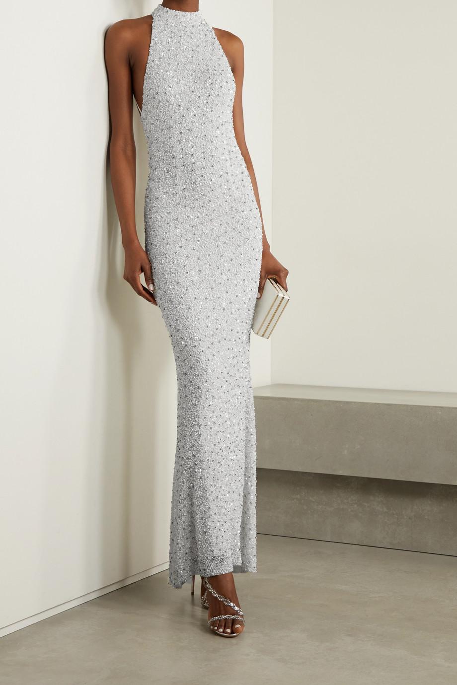 Retrofête Olivia embellished tulle halterneck gown