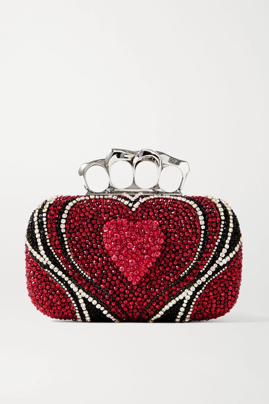 Alexander McQueen Box embellished satin clutch