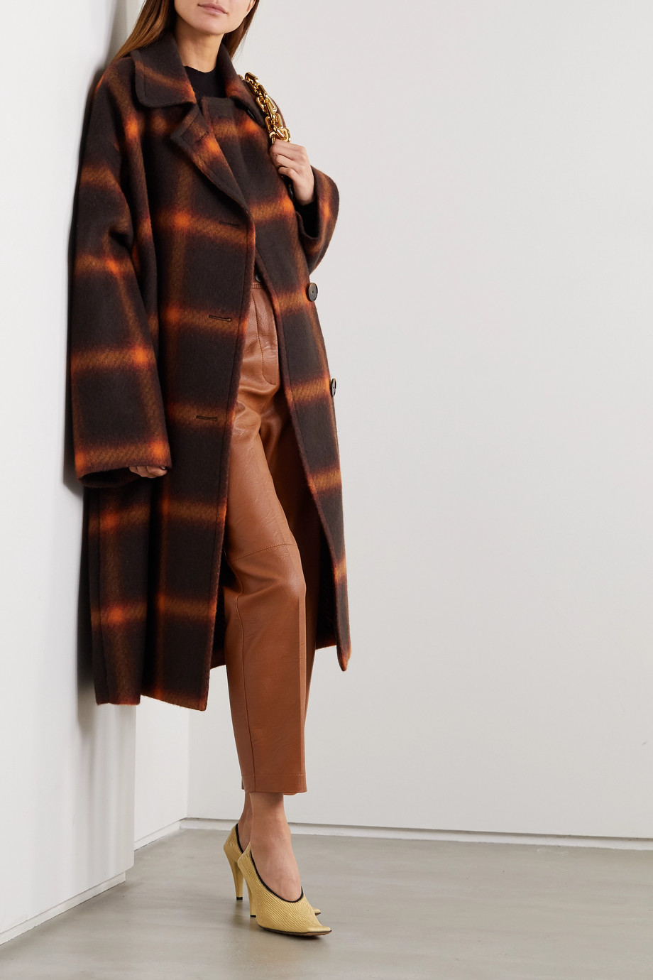 Stella McCartney Oversized-Mantel aus karierter Wolle