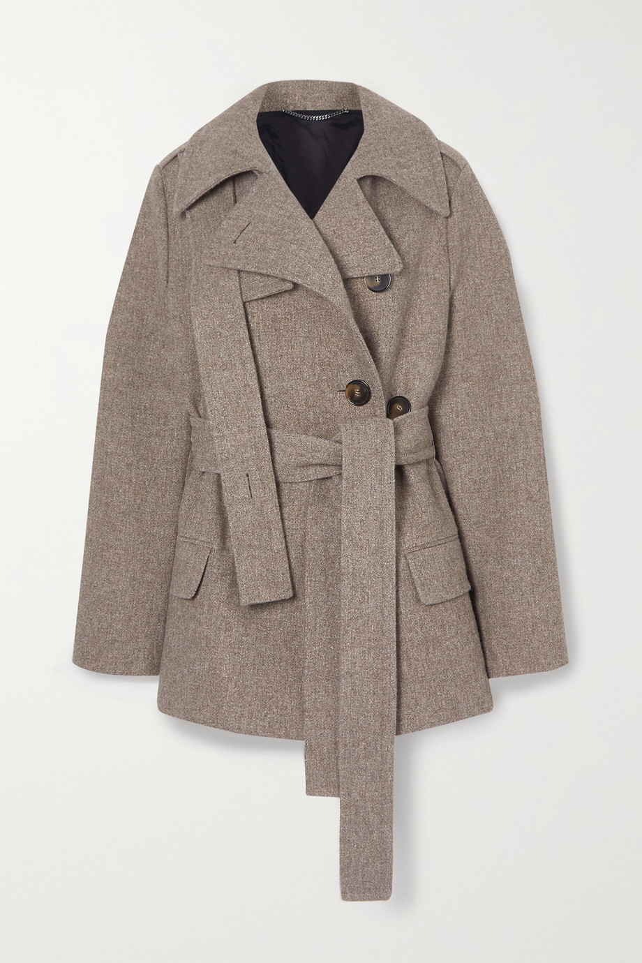 Stella McCartney Belted wool and linen-blend coat