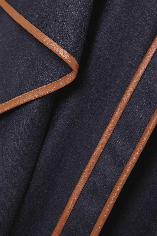 Stella McCartney Eloise belted asymmetric vegetarian leather-trimmed wool-flannel dress