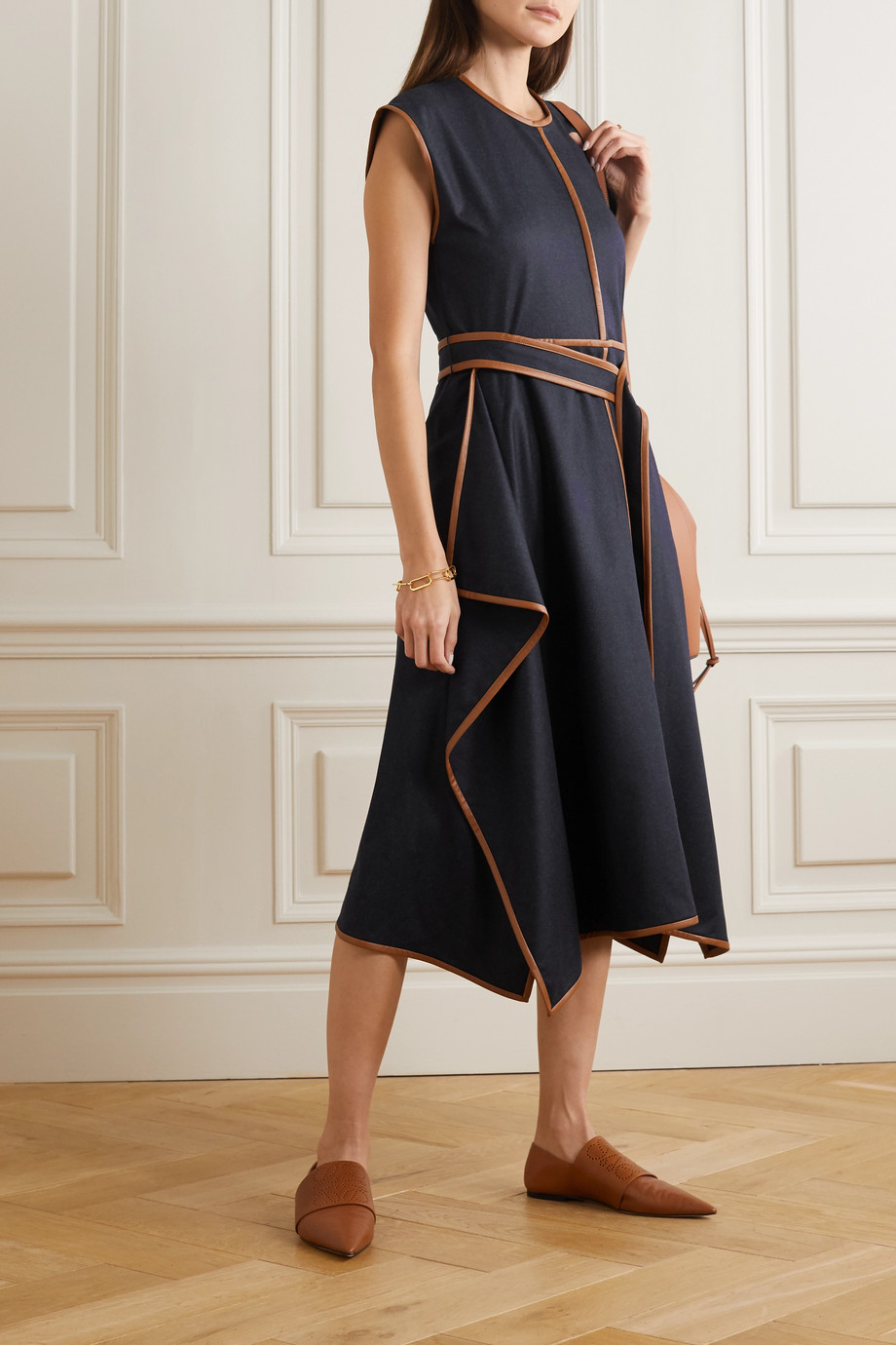 Stella McCartney Eloise belted asymmetric vegetarian leather-trimmed wool-flannel dress