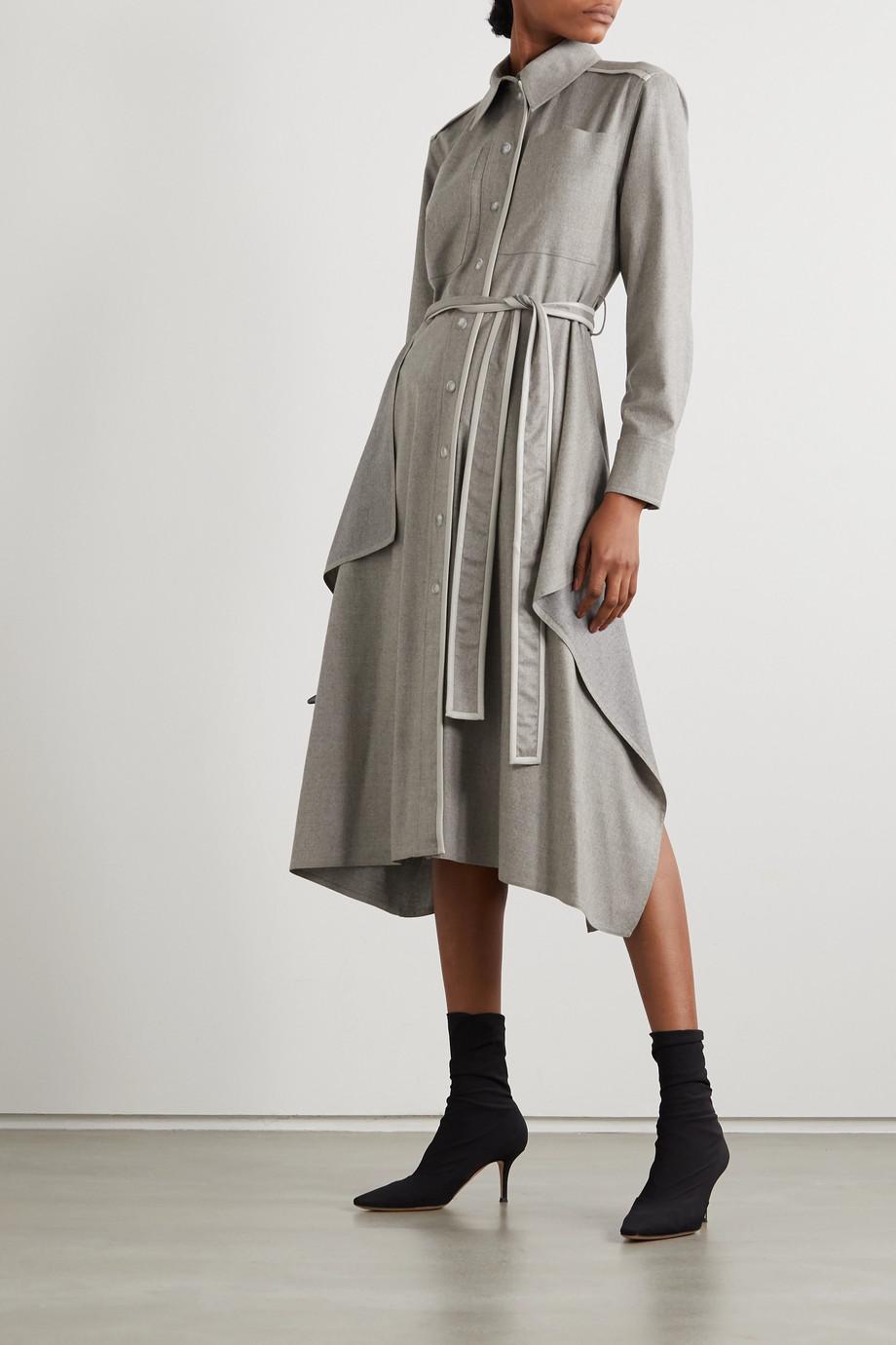 Stella McCartney Leilani belted vegetarian leather-trimmed wool-flannel shirt dress