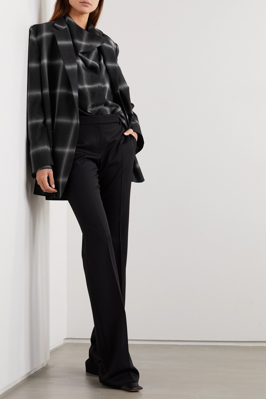 Stella McCartney Oversized checked wool-twill blazer
