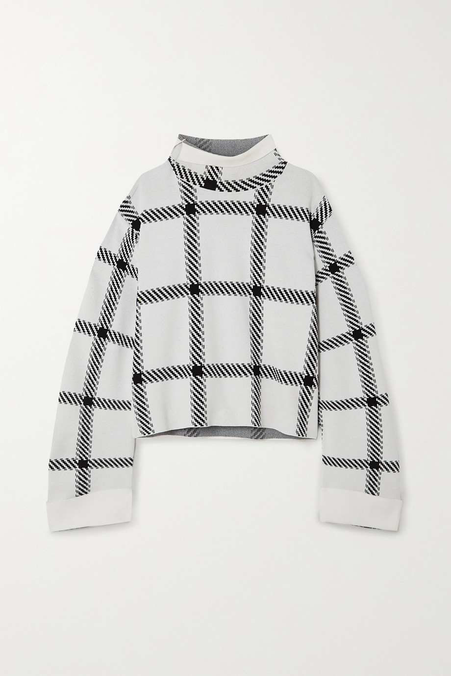 Stella McCartney + NET SUSTAIN checked stretch-knit top