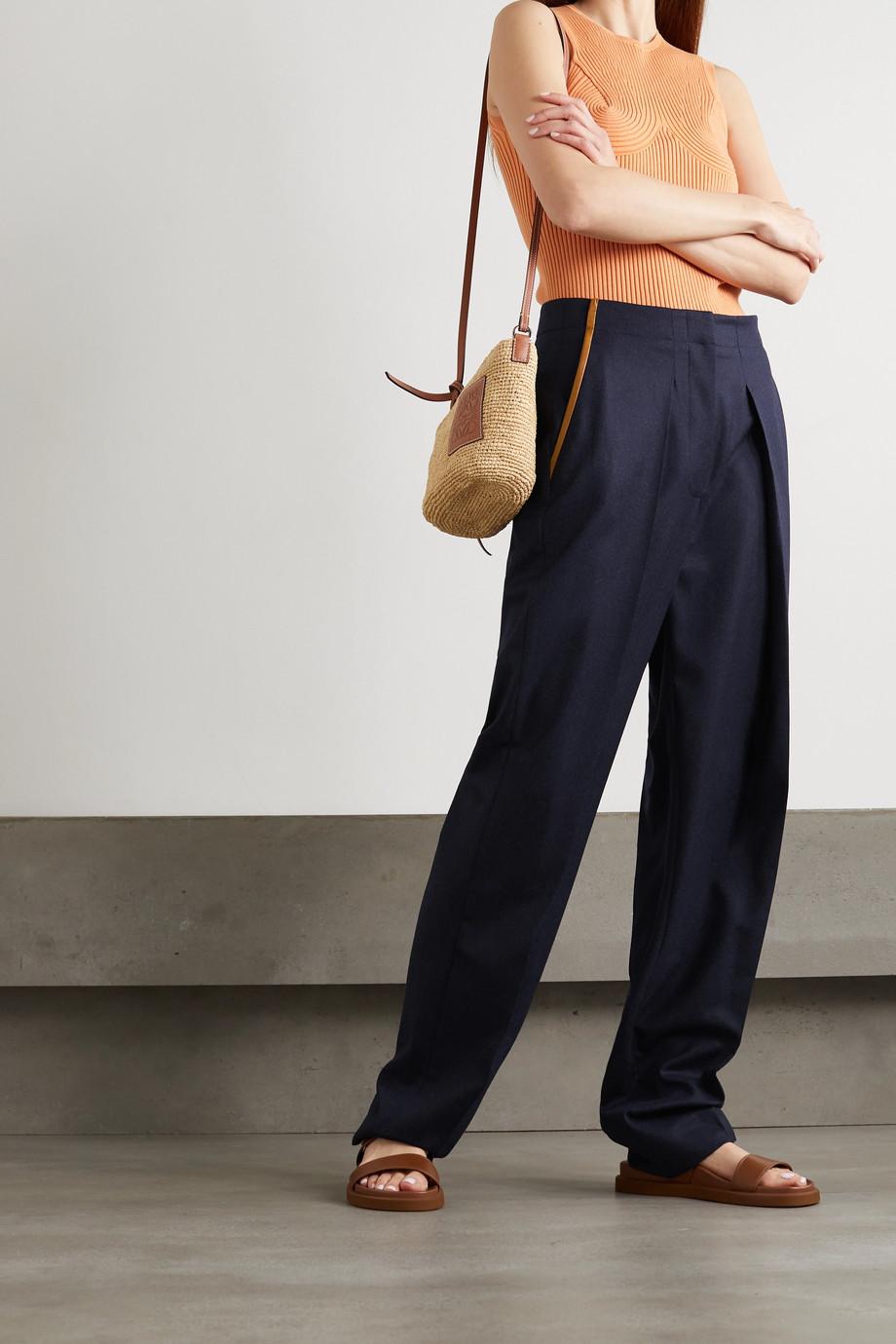Stella McCartney Hose mit geradem Bein aus Woll-Twill mit Falten und Kunstlederbesätzen