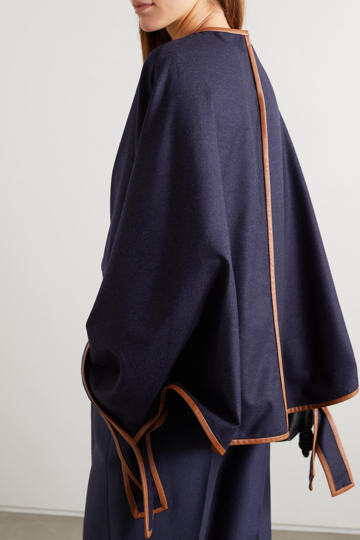 Stella McCartney Faux leather-trimmed wool blouse