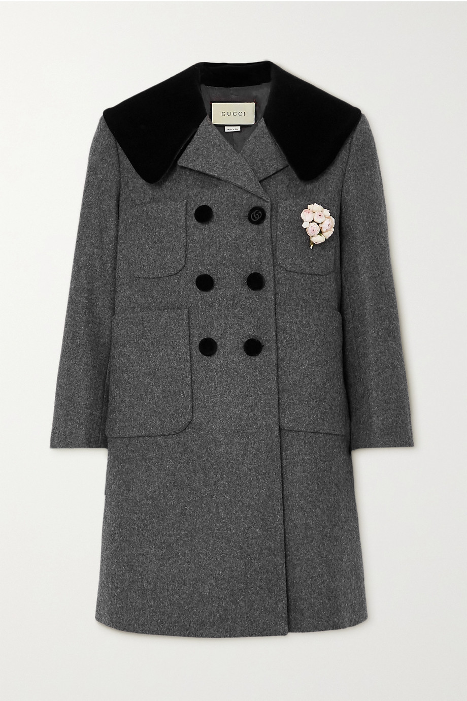 Gucci Embellished double-breasted velvet-trimmed wool coat