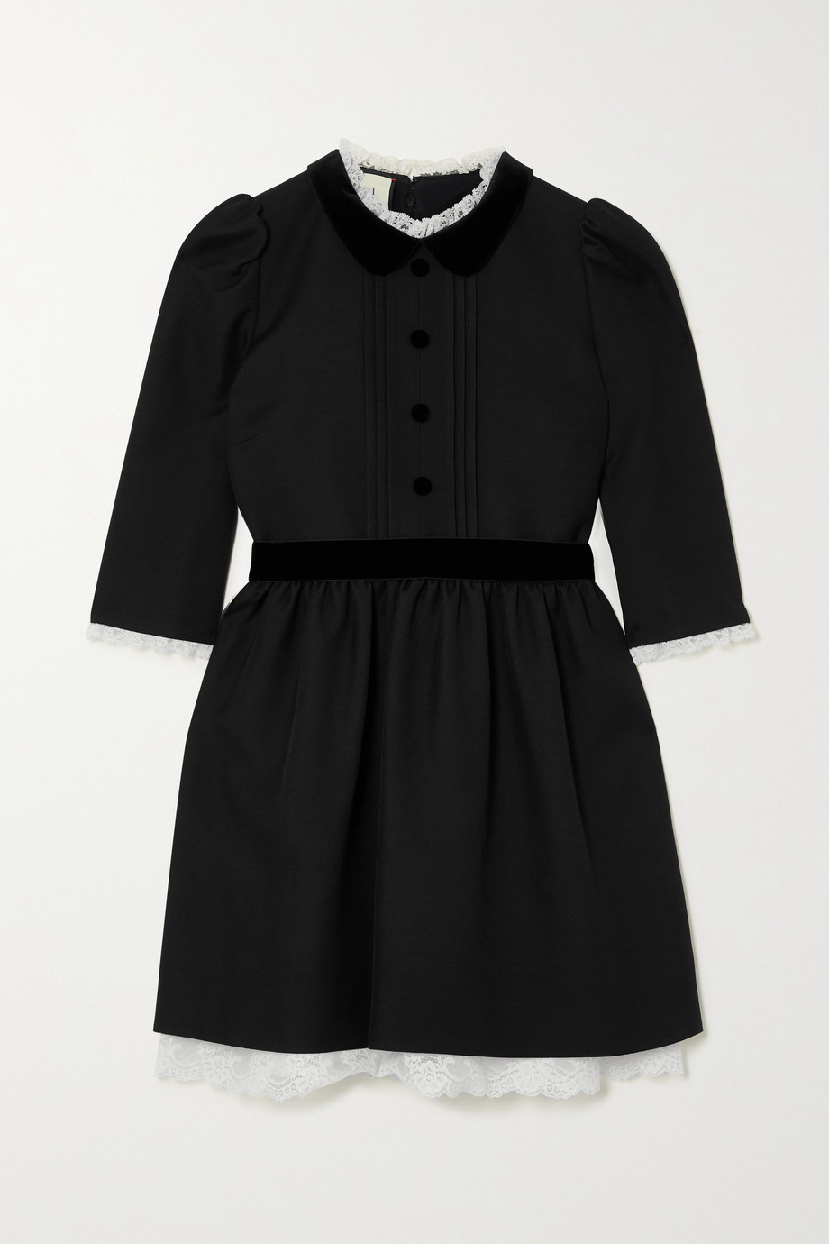 Gucci Velvet and lace-trimmed silk and wool-blend cady mini dress