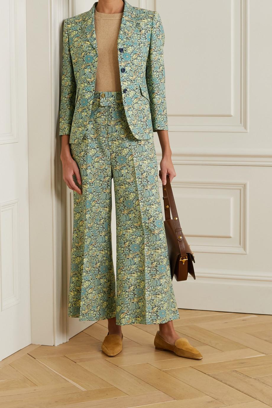 Gucci 花卉印花羊毛马海毛混纺西装外套