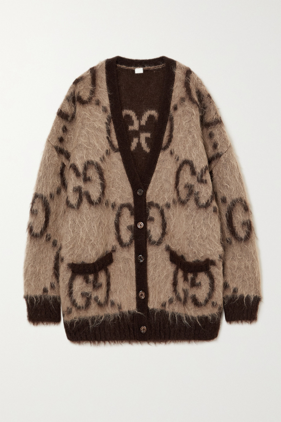Gucci Oversized reversible intarsia mohair-blend cardigan