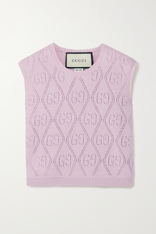 Gucci Pointelle-knit wool vest