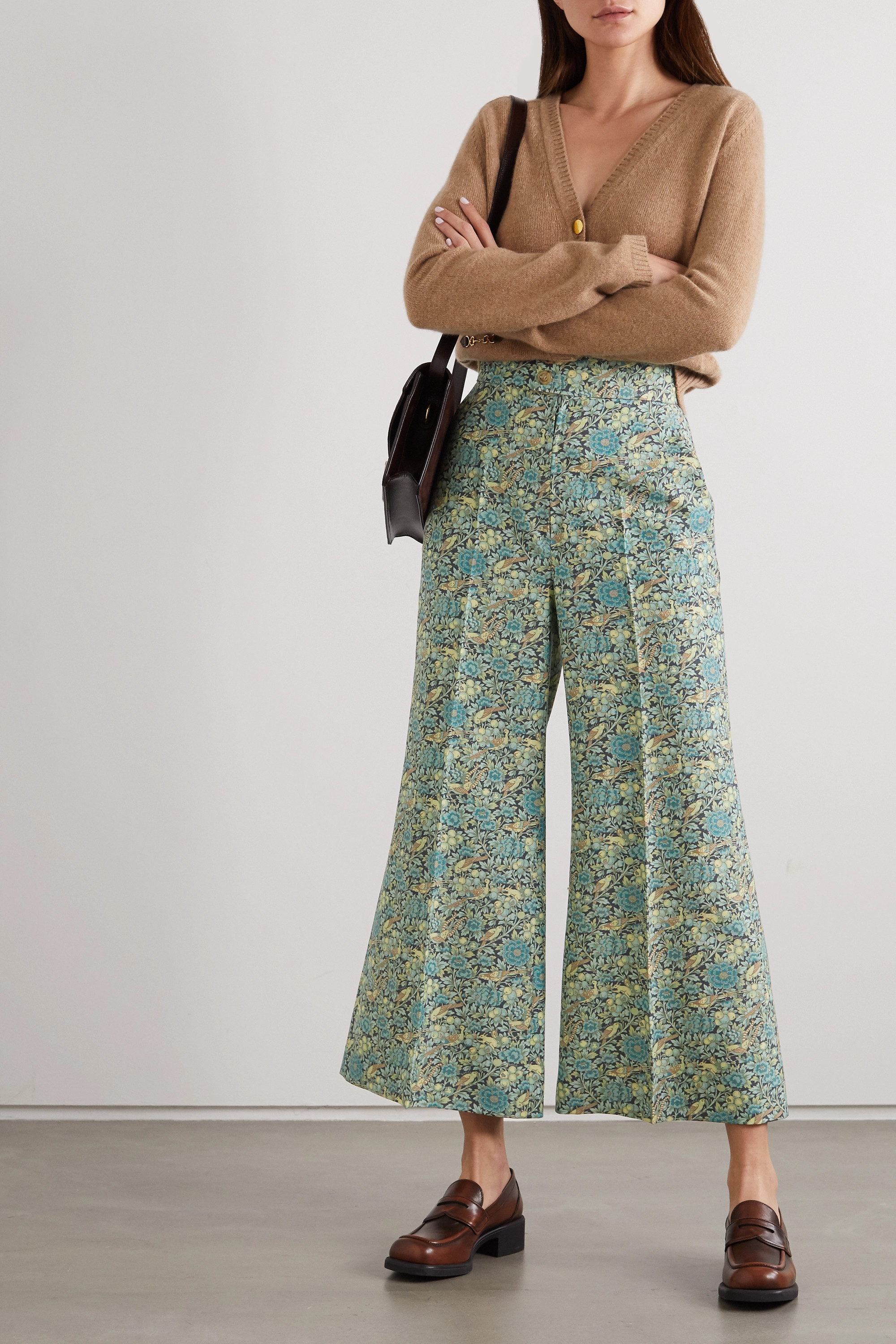 Gucci Cropped floral-print wool and mohair-blend wide-leg pants