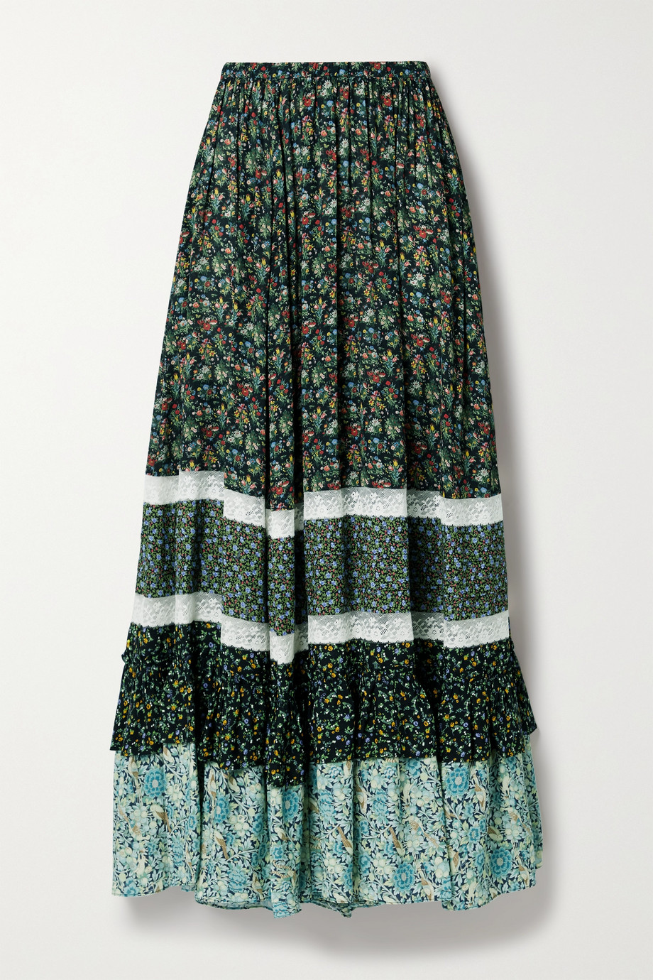 Gucci Lace-trimmed patchwork floral-print crepe maxi skirt