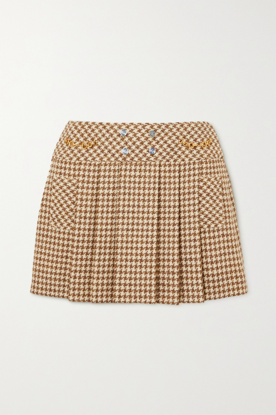 Gucci Embellished pleated houndstooth wool and mohair-blend mini skirt