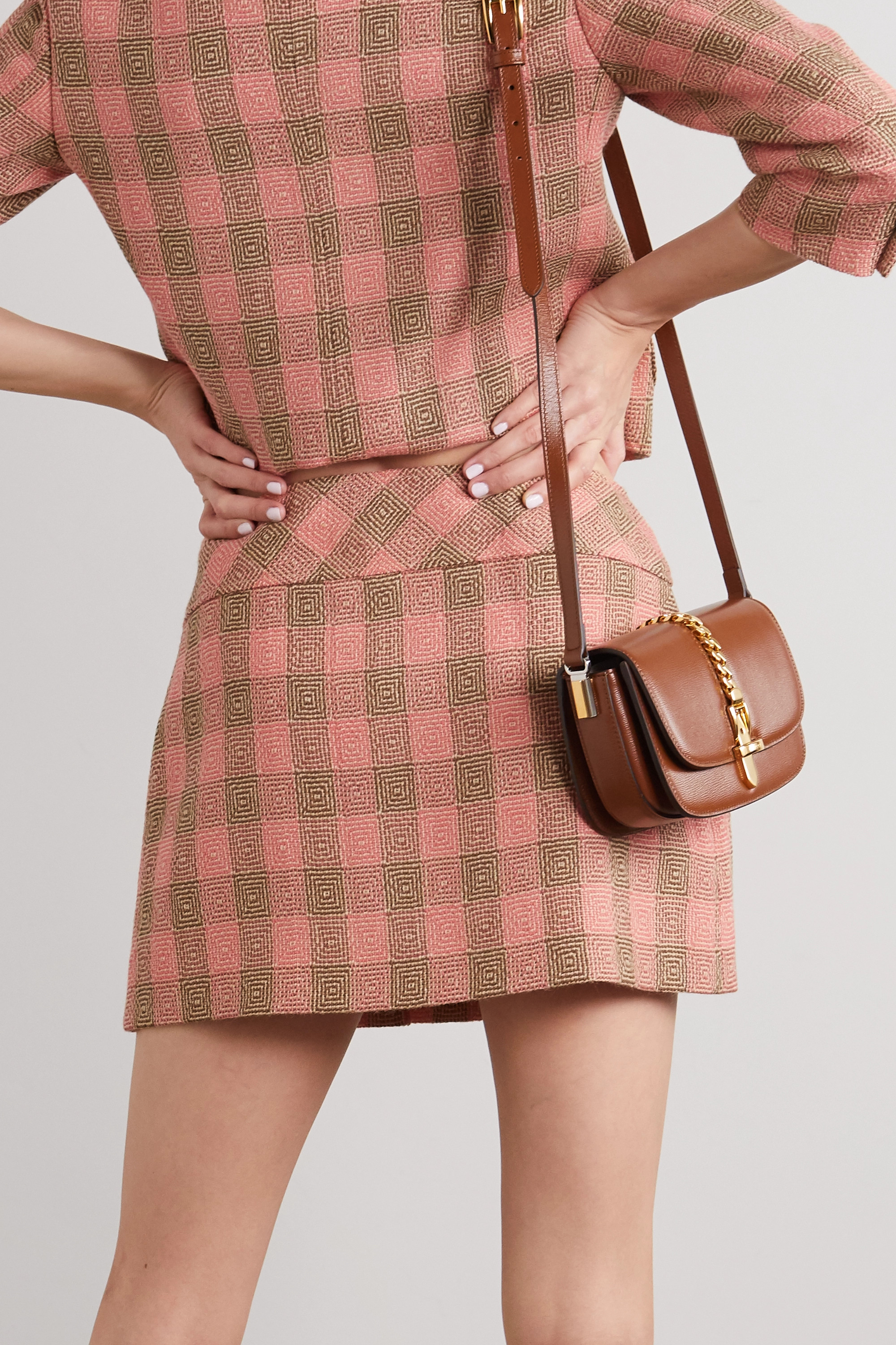 Gucci Chain-embellished pleated checked wool-tweed mini skirt
