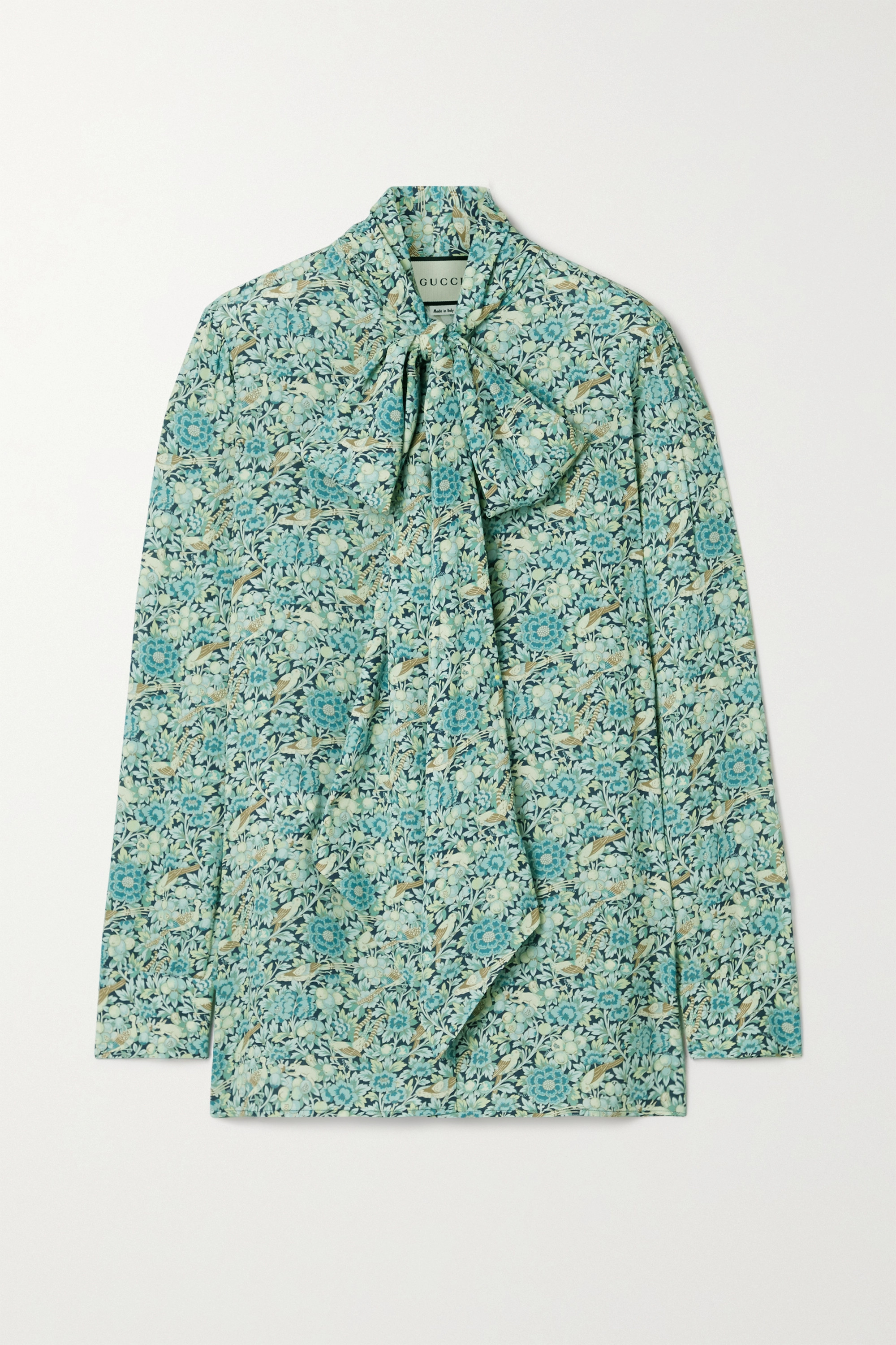 Gucci Pussy-bow floral-print crepe blouse
