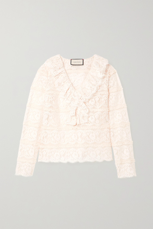 Gucci Ruffled cotton-blend lace blouse