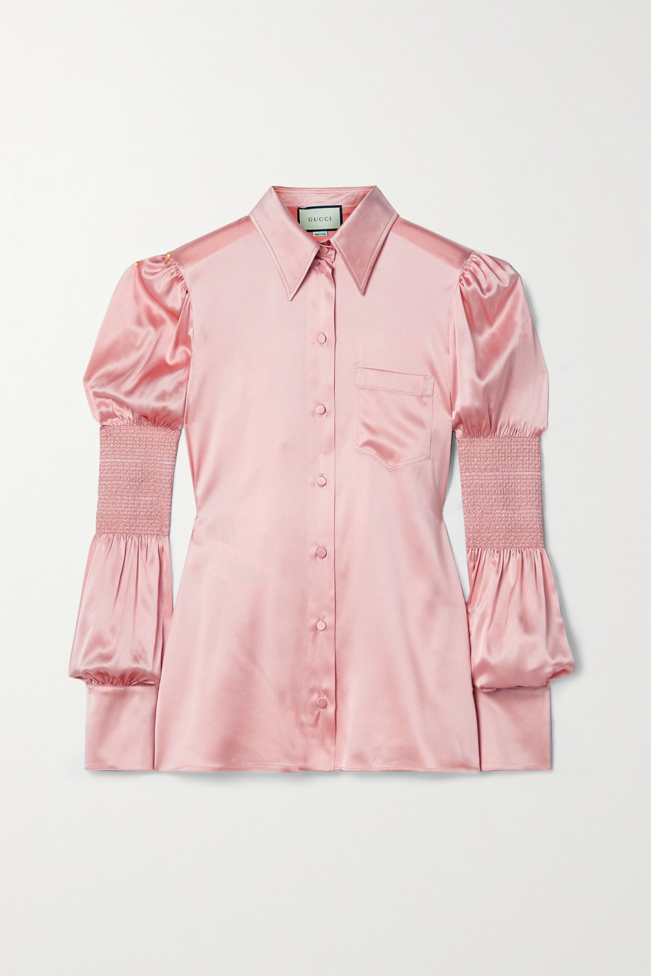 Gucci Smocked silk-blend satin blouse