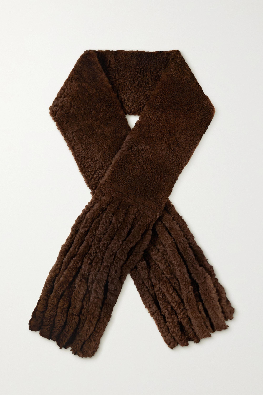 Bottega Veneta Écharpe oversize en peau lainée à franges