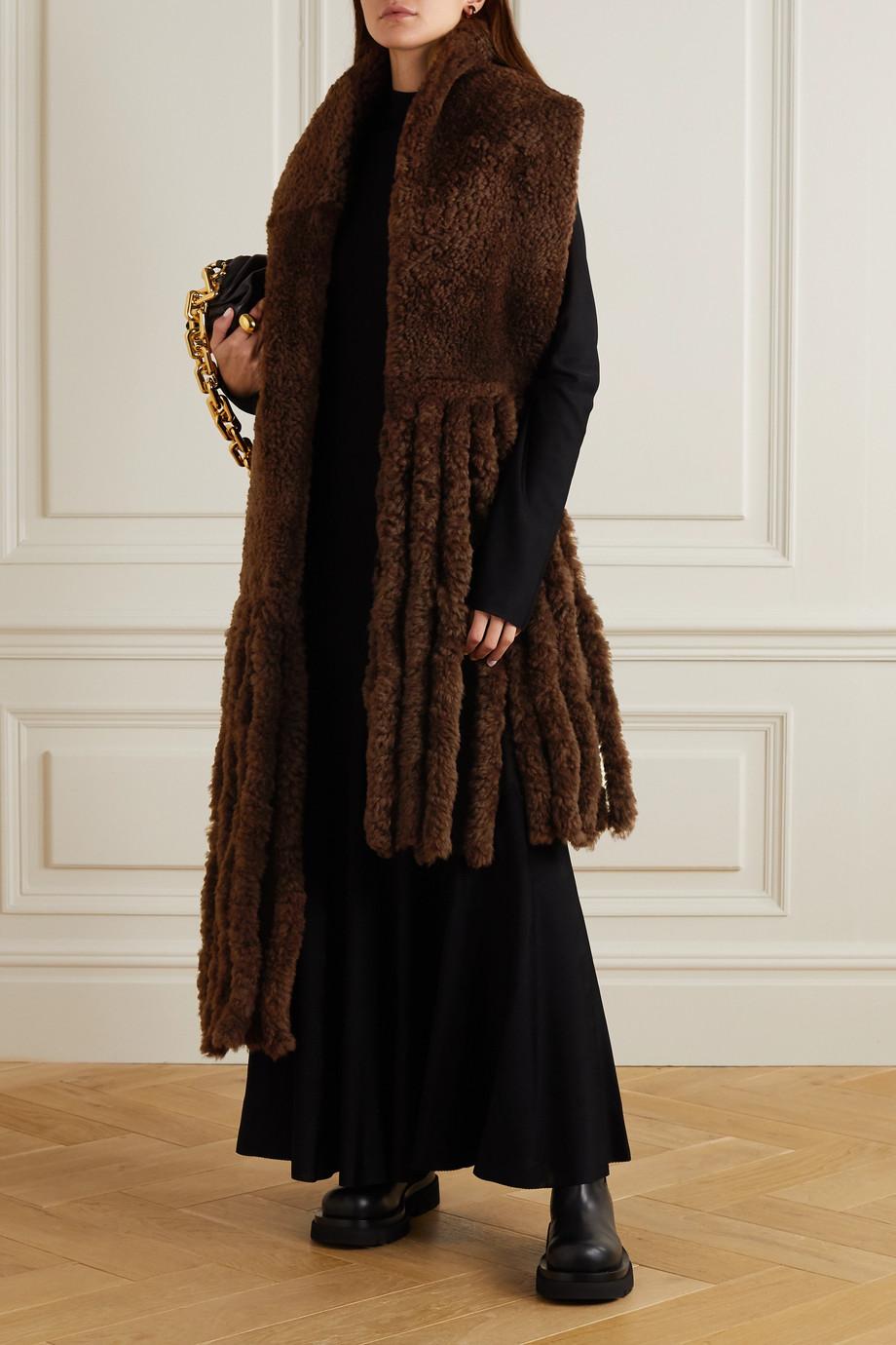 Bottega Veneta Oversized fringed shearling scarf