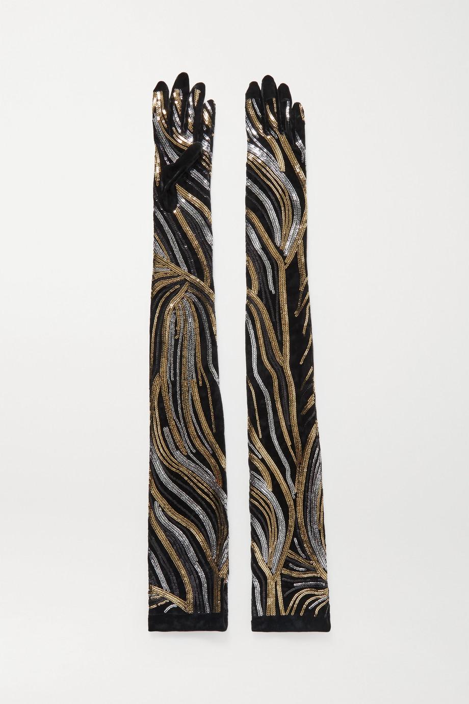 Dries Van Noten Sequin-embellished velvet gloves