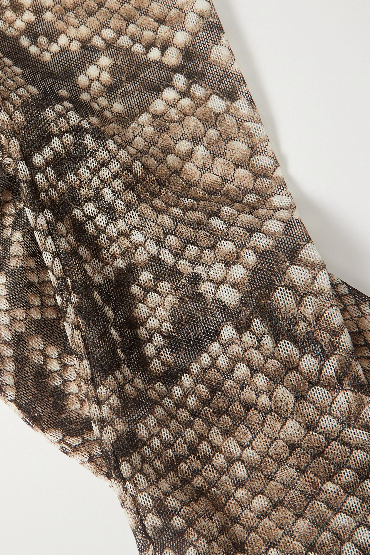 Dries Van Noten Handschuhe aus Stretch-Mesh mit Schlangenprint