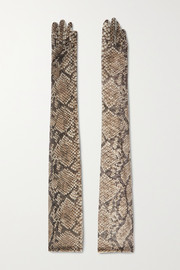 Dries Van Noten Snake-print stretch-mesh gloves