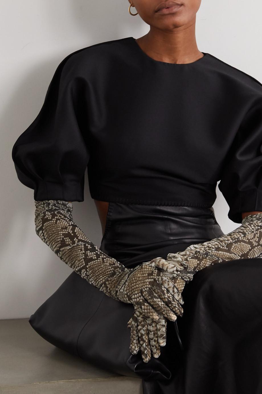Dries Van Noten Snake-print stretch-mesh gloves