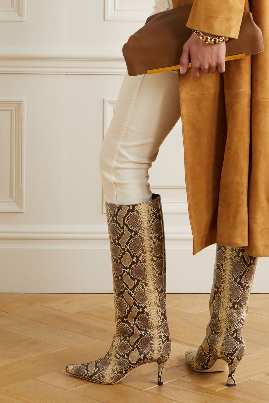BY FAR Stevie snake-effect leather knee boots