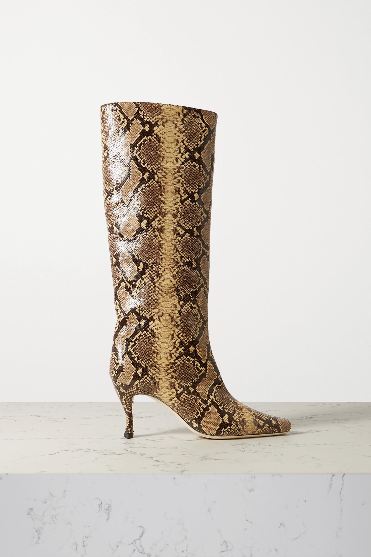BY FAR Stevie 仿蛇纹皮革及膝长靴