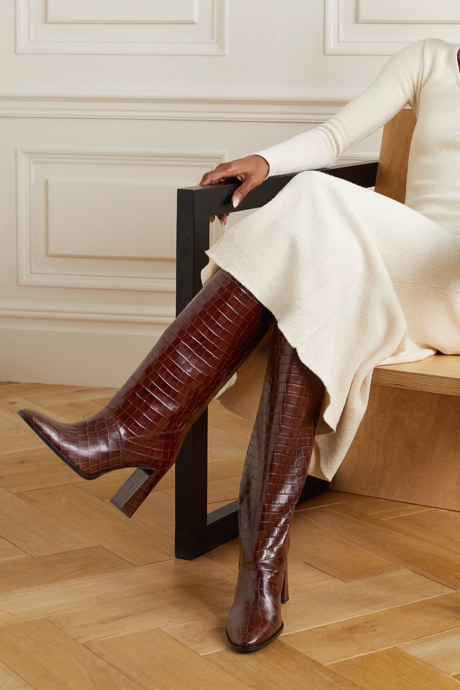 BY FAR Camilla croc-effect leather knee boots
